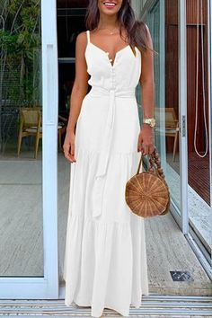 White Buttons Belt Lace-up Shoulder-Strap V-neck Draped Big Swing Flowy Beach Maxi Dress Source by dresses White Dress Summer, White Maxi Dresses, Beach Dresses, Spring Dresses, Casual Dresses, Fashion Dresses, White Maxi Dress Casual, Dress Beach, Bohemian Dresses