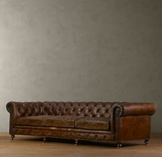"""Kensington Leather Sofa, Restoration Hardware, $4995 118"""" shown in vintage cigar by Pinky and the Brain"""