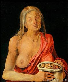 Albrecht Dürer - A.Dürer, Alte Frau mit Geldsack