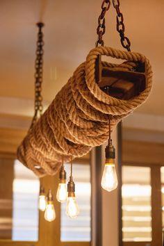 industrial and rustic light feature chandelier. Modern Lighting Design, Retro Lighting, Rustic Lighting, Rope Lighting, Rustic Restaurant, Restaurant Lighting, Funky Kitchen, Handmade Chandelier, Loft Interior Design
