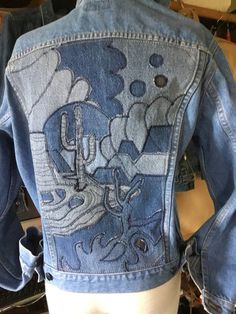 Appliqué ~ Seguaro desert, Sea of Cortez Baja California ~ 2 ~ Men's Small Jesse Jeans, nice and thick with a very nice fade to the denim ~Women S Fashion Worldwide Shipping Jean Crafts, Denim Crafts, Denim Art, Denim Ideas, Recycled Denim, Recycled Clothing, Recycled Fashion, Jeans Denim, Diy Old Jeans