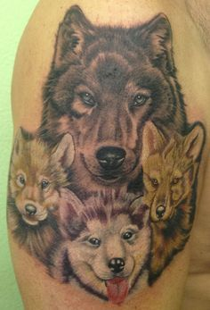wolf and cubs tattoo Wolf Tattoos, Wolves Tattoo, Husky Tattoo, Cubs Tattoo, Dream Tattoos, Feather Tattoos, Animal Tattoos, Star Tattoos, Body Art Tattoos