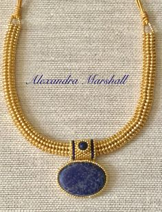 Big bold woven Omega style necklace with interchangeable Lapis Lazuli Pendant with hand beaded bezel and bail by Alexandra Marshall. Bead Jewelry, Ethnic Jewelry, Crystal Jewelry, Crystal Beads, Jewelry Crafts, Handmade Jewelry, Jewelry Making, Jewellery, Herringbone Necklace