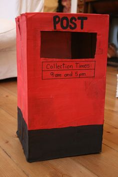 The Imagination Tree: Post Box Pretend Play Post Box Craft, Doctor Role Play, Cardboard Box Crafts, Post Box Cardboard, Cardboard Playhouse, Cardboard Toys, Cardboard Furniture, People Who Help Us, Diy Plaster