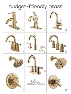 """Gold/brushed gold updates and makes everything appear """"richer"""" - affordable faucets/hardware are definitely out there. A lot of remodel sites saying they're worth the money for what the look does at upgrading a space Gold Bathroom Faucet, Brass Bathroom Fixtures, Gold Faucet, Shower Fixtures, Bathroom Hardware, Shower Faucet, Kitchen Fixtures, Small Bathroom, Bathroom Ideas"""