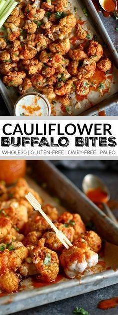 Healthy Recipes Cauliflower Buffalo Bites - The Real Food Dietitians - Cauliflower Buffalo Bites with dairy-free ranch make for a tasty, healthy Healthy Vegan Dessert, Healthy Drinks, Healthy Snacks, Healthy Eating, Clean Eating, Healthy Sides, Healthy Dinners, Healthy Options, Dairy Free Appetizers