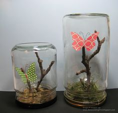 Danee's Stampin' Delights: Upcycled Glass Jars: Butterfly Oasis #librarycrafts #teencrafts #crafts
