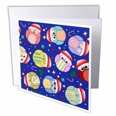3dRose Cute Colorful Cartoon Owls with Christmas decorations and red santa hats - birds on dark navy blue, Greeting Card, 6 x 6 inches, single