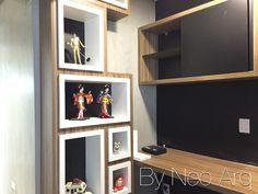 Home Office com parede lousa e nichos. Projeto Neo Arq SP