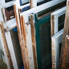 refurbish old window frames and door hinges into a cute side table