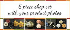 Purchase this 6 piece shop set... it includes your own personal product photos in your shop banner! Use these images on Etsy, Artfire, Zibbet, etc. Designed with Autumn colors in mind!