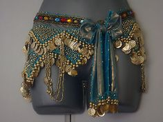 Newest sexy #bling turquoise belly dance hip belt scarf gold #coins #costume uk,  View more on the LINK: http://www.zeppy.io/product/gb/2/281829406559/