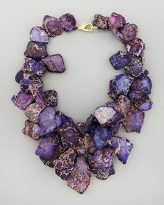 Chunky Violet Jasper Necklace by Nest at Neiman Marcus statement necklace Jewelry Box, Jewelery, Jewelry Accessories, Jewelry Necklaces, Jewelry Design, Jewelry Making, Unique Jewelry, Gold Jewelry, Jewelry Stores