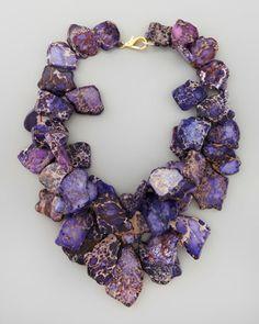 Nest Chunky Violet Jasper Necklace - Neiman Marcus. Purple. Cobalt blue. Gold.