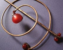 Red Moonglow Button Hammered Copper Spiral Bun Cover