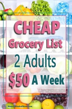 This grocery budget for 2 is perfect if you are trying to save money on groceries while eating delicious meals on a budget. It includeds a cheap grocery list and budget meal plan to spend less then $50 on groceries for a family of two. Plus I show you how to meal plan on a budget so you can create your own cheap meal plan to save money on your grocery budget. Family Meal Planning, Budget Meal Planning, Meal Planning Printable, Cheap Grocery List, Grocery Lists, Cheap Meal Plans, Cheap Meals, Groceries Budget, Save Money On Groceries