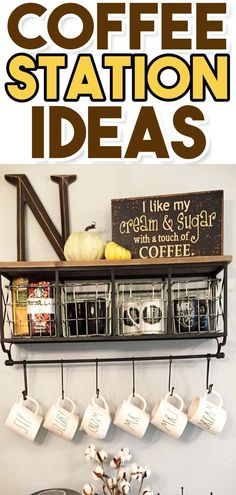 Farmhouse Coffee Station Ideas - Farm Style Coffee Bar Ideas & Pictures For Your Home Coffee Bar Ideas and Kitchen Coffee Station Ideas – Our favorite kitchen decorating ideas for a f Coffee Station Kitchen, Coffee Bars In Kitchen, Coffee Bar Home, Home Coffee Stations, Coffee Nook, Coffee Carts, Coffee Coffee, Camping Coffee, Cool Kitchens
