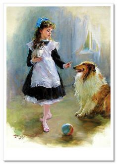 """""""A Little Schoolgirl with a Kitten and a Collie"""" by Konstantin Razumov , contemporary Russian artist. Painting & Drawing, Watercolor Paintings, Fine Art, Anime Comics, Dog Art, Beautiful Paintings, Vintage Children, Kitsch, Art For Kids"""