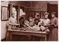 """Women's Medical College of Pennsylvania, Philadelphia, 1892. """"In diaries and letter from the late nineteenth century, women medical students sometimes wrote of their resolve to prove that they could engage in all aspects of medical study and practice without compromising dignity or sacrificing the appearance of femininity. The choice of dress for the dissecting room was one common subject in such reflections."""""""