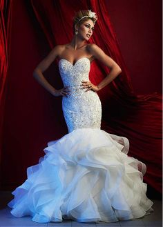 Brilliant Organza & Stretch Tulle Sweetheart Neckline Mermaid Wedding Dresses with Beaded Embroidery #wintersale