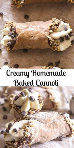 Creamy Homemade Baked Cannoli – An Italian in my Kitchen Creamy Homemade Baked Cannoli. Cannoli, baked not fried, just as delicious but a little bit healthier. Filled with a creamy Ricotta Chocolate Chip Filling, Perfect! Italian Desserts, Easy Desserts, Delicious Desserts, Dessert Recipes, Yummy Food, Italian Cookies, Delicious Chocolate, Italian Pastries, Mint Chocolate