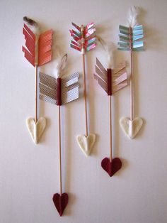 Valentine's Day Feather, Felt & Cardstock Heart Arrows