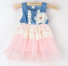Gorgeous denim dress outfit for infant girls. Adorned with pearl buttons, pretty ivory laces and detachable pretty flower ivory corsage. This is perfect for gifts, birthday party,casual and other occasions. Can be everyday wear for your baby. Can be a ...