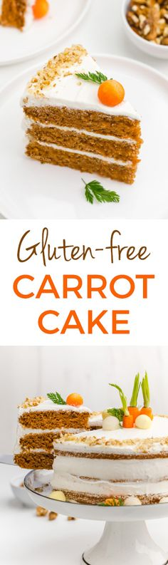 This delicious gluten-free carrot cake is perfectly spiced, fluffy and doesn't taste at all gluten-free! Can also be made with whole wheat or all-purpose flour for a non-gluten-free version. #glutenfree #easter #dessert #recipe