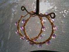 Ohrringe Creolen in ila als wirework Glasschmuck von kunstpause auf DaWanda.com