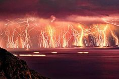 This incredible image was created on Ikaria island. The photographer set up his camera on a tripod, and then took repeated 20 second exposures. He then combined 70 of them into a single frame, creating this stunning image. The photographs were taken over 83 minutes, and the result was this 'wall of lightning'.