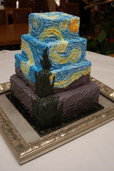 """Wedding cake con riproduzione della """"Notte Stellata"""" di Van Gogh realizzata da JenSpin at Cake Central"""