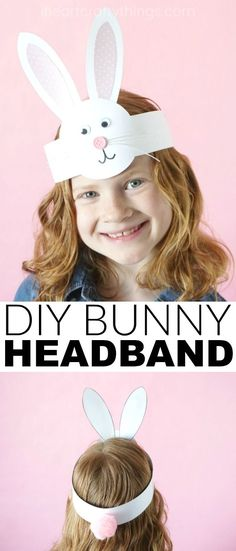 This DIY Bunny Headband Craft is a simple Easter craft for kids to make during a playdate, family get-together or for an Easter celebration at school. After making the adorable headband kids can have fun hopping around, pretending to be bunnies and giggling in their cute bunny headband. #eastercrafts #bunny #kidscraft #craftsforkids #partyideas #easterbunny #simpleeastercraftsforkids