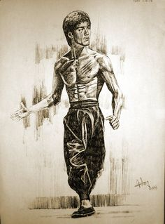 Bruce Lee by aaronwty on deviantART Excellent Drawing on my Idol, Great Job. Bruce Lee Art, Bruce Lee Martial Arts, Bruce Lee Quotes, Bruce Lee Body, Bruce Lee Poster, Bruce Lee Pictures, Drawing Cartoon Faces, Creation Art, Enter The Dragon