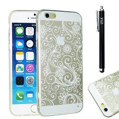 iPhone 6 Case, UTLK Clear Flower Pattern Crystal Gel TPU Rubber Flexible Slim Soft Case for Apple iPhone 6 4.7-Inch with Stylus Pen Scratch-Resistant Cover (Transparent + White) UTLK