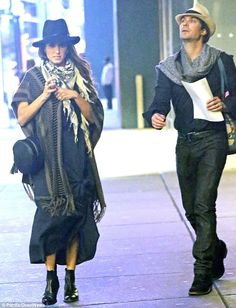 Hippie chic: Ian Somerhalder and his wife, Nikki Reed, matched their accessories as they arrived late for the Hamilton musical in New York City on Sunday