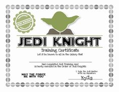 20 Jedi Knight Certificate Template - Printable Star Wars - Ideas of Printable Star Wars #starwars #printable #files - Star Wars Baby, Theme Star Wars, Star Wars Kids, Printable Star Wars, Regalos Star Wars, Star Wars Party Games, Star Wars Classroom, Art Classroom, Anniversaire Star Wars