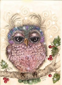 Folk Art Owl  ...wondering if my grandbabies like this..  one girl, one boy color, someone will have to show them and let me know :)