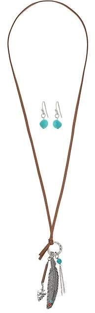 M&F Western - Feather with Turquoise Necklace/Earrings Set Jewelry Sets