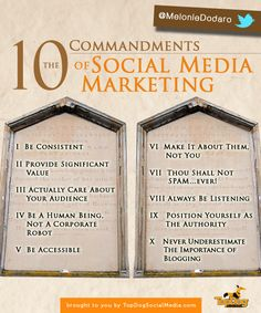 ten commandments of social media marketing shown on two tablets outlining simple steps