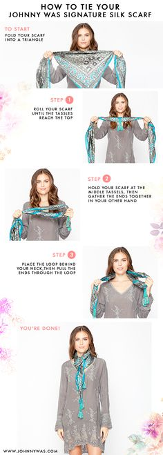 1000 Ideas About Square Scarf Tying On Square by How To Tie Your Johnny Was Silk Scarf February 2014 Square Scarf Tying, Head Scarf Tying, Leather Jogging Pants, Classy And Fab, Scarf Knots, How To Wear Scarves, Tie Scarves, Casual Outfits, Summer Outfits