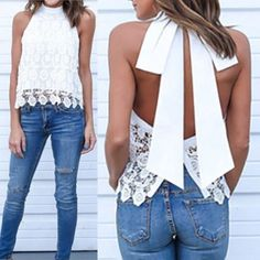 Womens Summer Loose Casual Chiffon Lace Sleeveless Vest Shirt Tops Blouse Ladies Tops