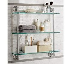 44 Perfect Glass Shelves Ideas For Bathroom Design. Putting up bottom of glass shelving is quite common to ask in many homes as well as offices around the world today. The glass that you install may b. Bathroom Shelves Over Toilet, Glass Shelves Kitchen, Small Bathroom, Bathroom Ideas, Design Bathroom, Bathroom Wall, Restroom Ideas, Master Bathroom, Spa Bathrooms