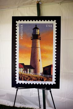 The stamp featuring Portland Head Lighthouse is gorgeous at all sizes. New England Lighthouses, Going Postal, Stamp Collecting, Postage Stamps, Vivid Colors, Portland, Usa, Collection, Home Decor