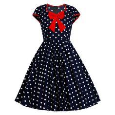 Navy Dress Polka Dot