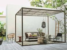 Furniture, # Terrace # Mazz garden furniture While old within concept, the actual pergola continues to be experiencing somewhat of a present day rebirth these days. An elegant outdoor housing without surfaces (or if not made as a. Diy Pergola, Metal Pergola, Pergola Shade, Pergola Ideas, Modern Pergola, White Pergola, Small Pergola, Curved Pergola, Pergola Swing