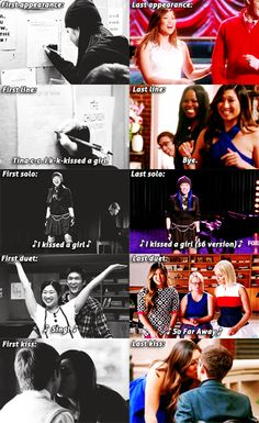 "Tina Cohen Chang•I love how her first and last duet was ""I Kissed a Girl"" and her first and last kiss was with Artie :)"