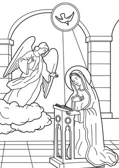 Coloring picture of the Annunciation of the Angel to Virgin Mary - Courtesy of Coloring For Kids, Coloring Books, Nativity Coloring Pages, Angel Silhouette, Sunday School Coloring Pages, San Gabriel, Bible Drawing, Art Education Lessons, Christmas Paintings On Canvas