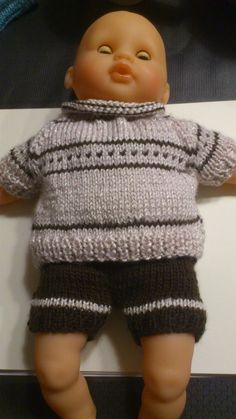 Knitted doll for corolla doll 30 cm Crochet For Kids, Knit Crochet, Crochet Hats, Pet Clothes, Doll Clothes, Pull Bebe, Preemie Clothes, Barbie, Knitted Dolls