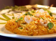 Risoto de camarão com abóbora. Fácil de fazer e uma delícia!