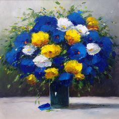 """Christian NESVADBA - Paintings,""""Peaceful Bouquet"""" by Gerhard Nesvadba 20x20 Oil On Canvas"""